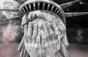 A depiction of a weeping Statue of Liberty recently published on the Russia Insider home page.