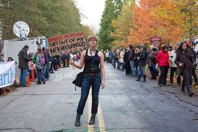 A rally in opposition to the Kinder Morgan oil pipeline on Burnaby Mountain, Canada. Photo by Mark Klotz.