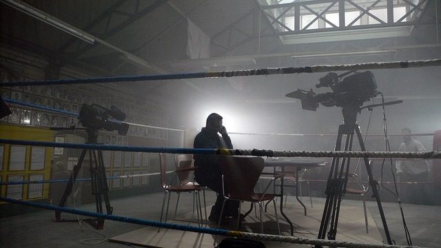 Filming at the Repton Amateur Boxing Club in London. Credit: LeoLondon.